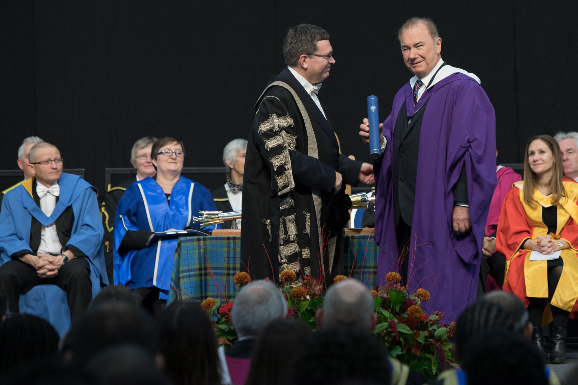 Professor David Teece receives his award from Heriot-Watt University Principal and Vice-Chancellor, Professor Richard Williams OBE.